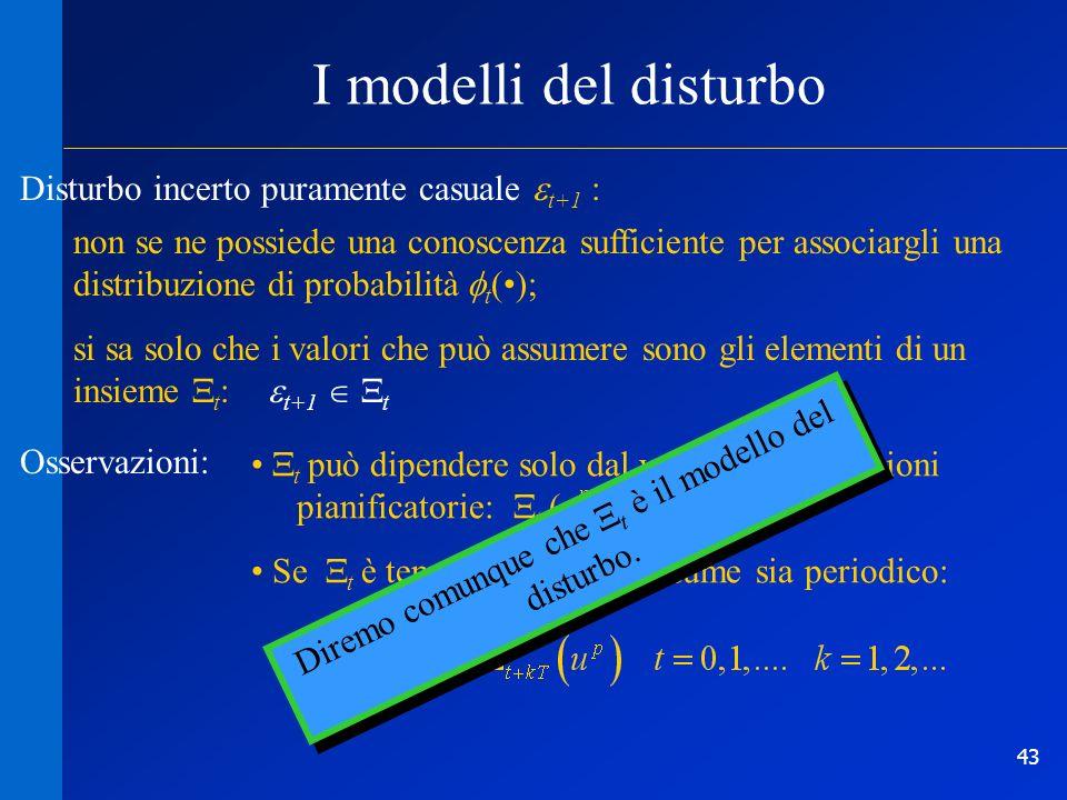 43 I modelli del disturbo Disturbo incerto puramente casuale t+1 : non se ne possiede una conoscenza sufficiente per associargli una distribuzione di