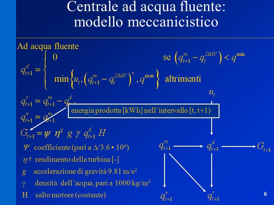 6 Centrale ad acqua fluente: modello meccanicistico Ad acqua fluente coefficiente (pari a /3.6 10 6 ) g rendimento della turbina [-] g accelerazione d