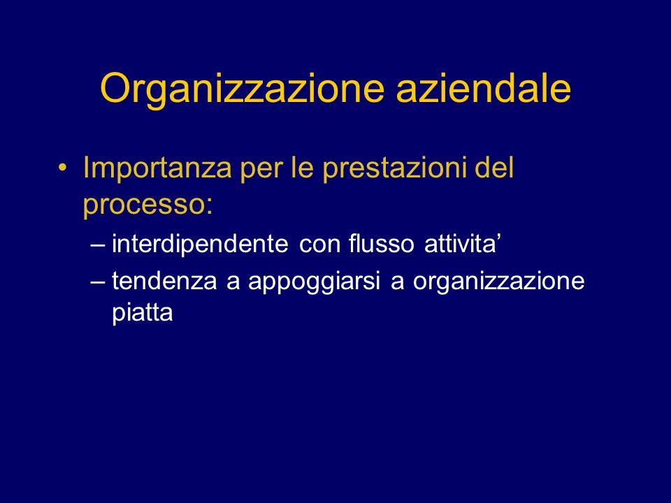 Organizzazione aziendale Importanza per le prestazioni del processo: –interdipendente con flusso attivita –tendenza a appoggiarsi a organizzazione piatta