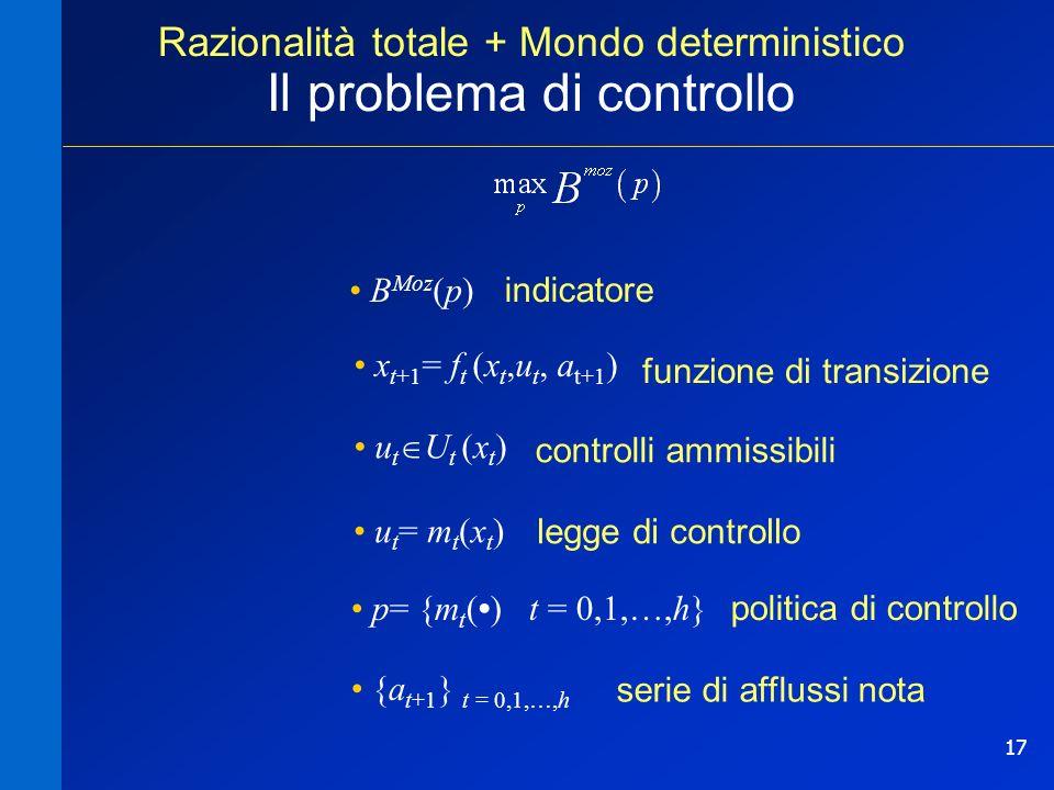 17 Razionalità totale + Mondo deterministico Il problema di controllo controlli ammissibili legge di controllo funzione di transizione B Moz (p) politica di controllo p= {m t () t = 0,1,…,h} p= {m t () t = 0,1,…,h} x t+1 = f t (x t,u t, a t+1 ) u t = m t (x t ) u t U t (x t ) {a t+1 } t = 0,1,…,h {a t+1 } t = 0,1,…,h indicatore serie di afflussi nota