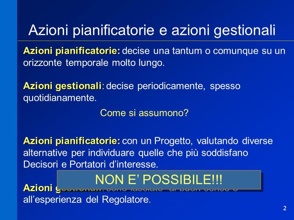 2 Azioni pianificatorie e azioni gestionali Azioni pianificatorie: Azioni pianificatorie: decise una tantum o comunque su un orizzonte temporale molto lungo.