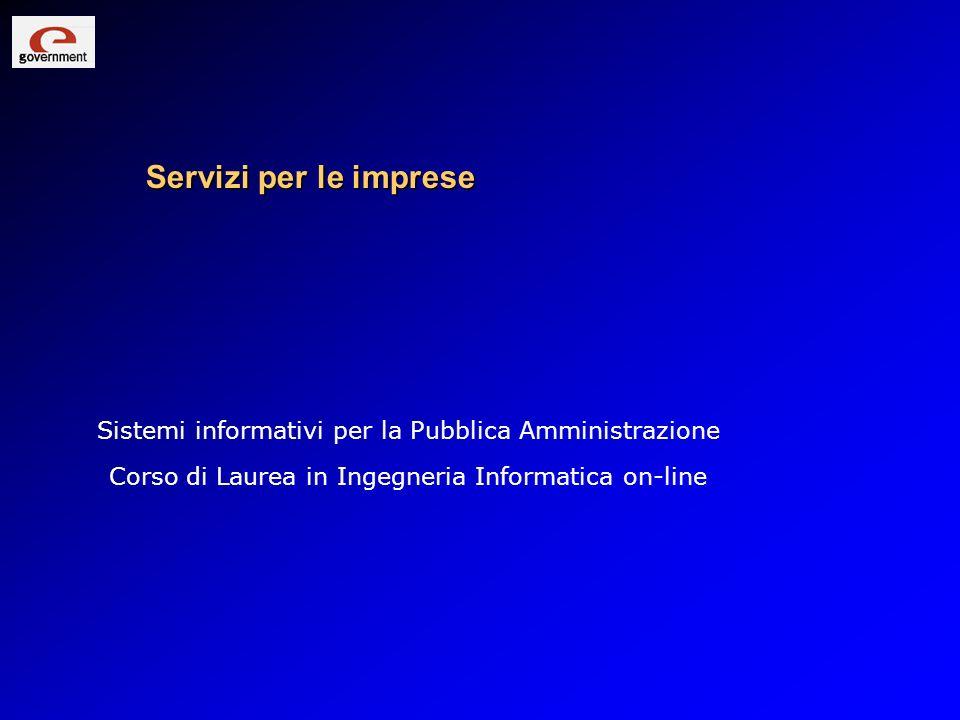 Servizi per le imprese Sistemi informativi per la Pubblica Amministrazione Corso di Laurea in Ingegneria Informatica on-line