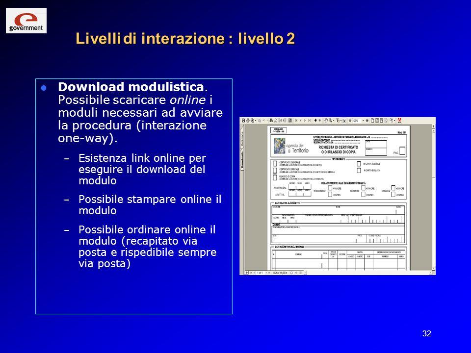 32 Livelli di interazione : livello 2 Download modulistica. Possibile scaricare online i moduli necessari ad avviare la procedura (interazione one-way