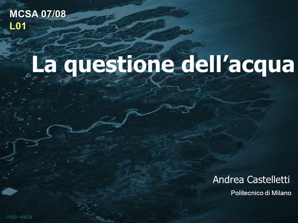 La questione dellacqua Andrea Castelletti Politecnico di Milano MCSA 07/08 L01 Indo -delta