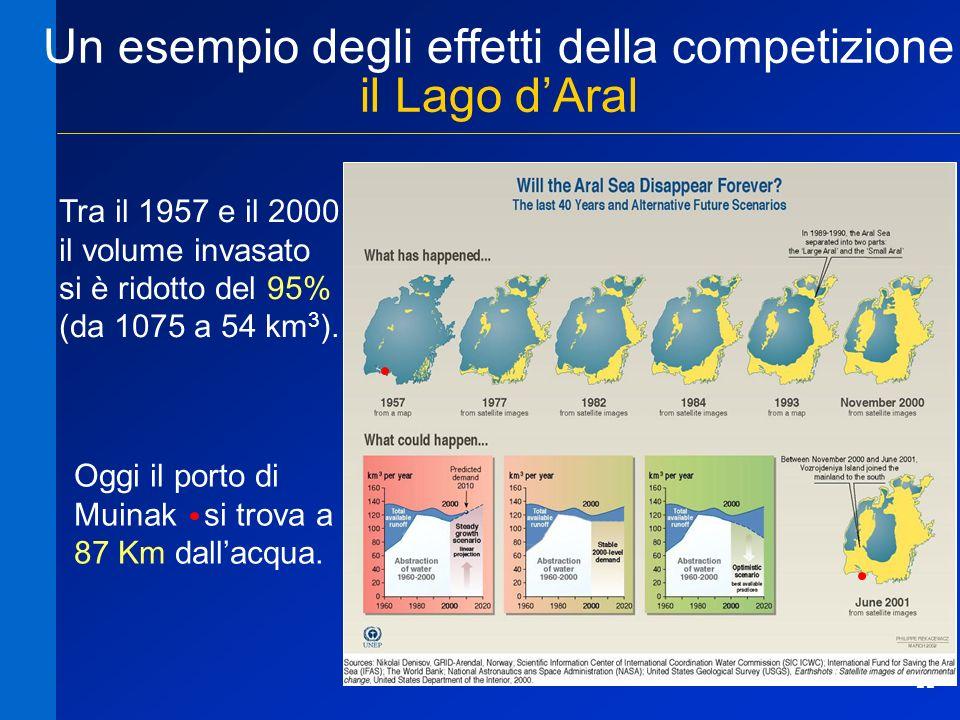 11 Un esempio degli effetti della competizione il Lago dAral Tra il 1957 e il 2000 il volume invasato si è ridotto del 95% (da 1075 a 54 km 3 ). Oggi