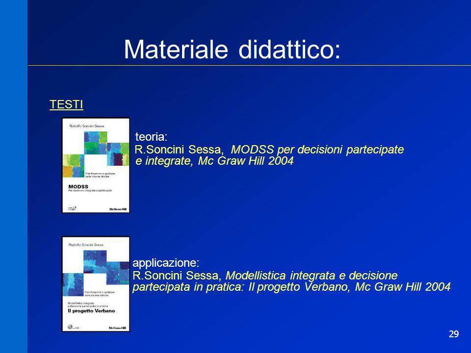 29 Materiale didattico: TESTI teoria: R.Soncini Sessa, MODSS per decisioni partecipate e integrate, Mc Graw Hill 2004 applicazione: R.Soncini Sessa, M