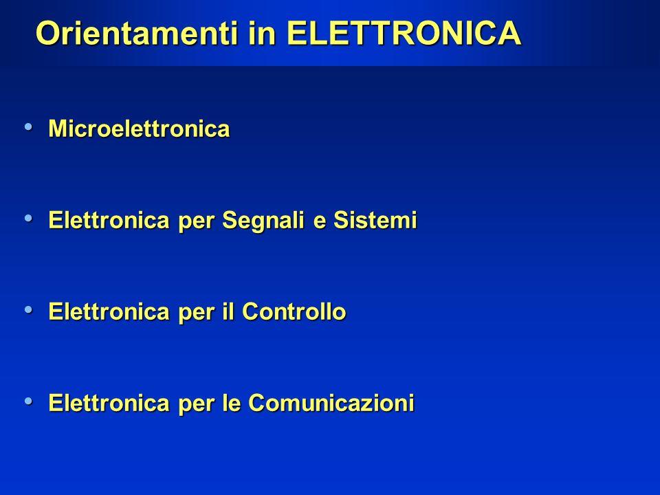 Orientamenti in ELETTRONICA Microelettronica Microelettronica Elettronica per Segnali e Sistemi Elettronica per Segnali e Sistemi Elettronica per il C