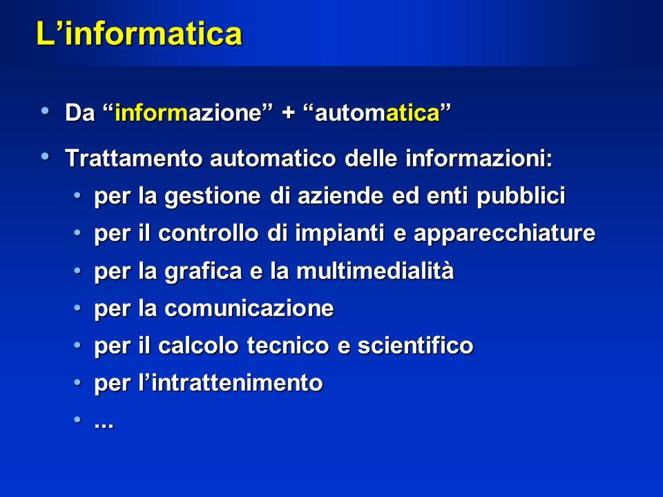 Linformatica Da informazione + automatica Da informazione + automatica Trattamento automatico delle informazioni: Trattamento automatico delle informa