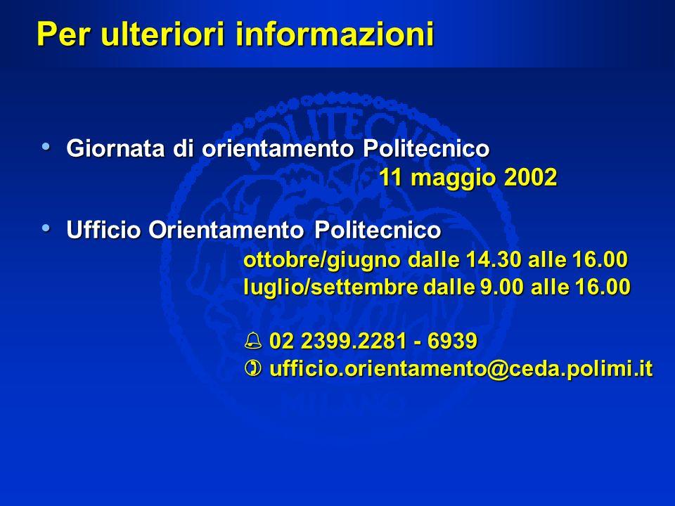 Per ulteriori informazioni Giornata di orientamento Politecnico 11 maggio 2002 Giornata di orientamento Politecnico 11 maggio 2002 Ufficio Orientament