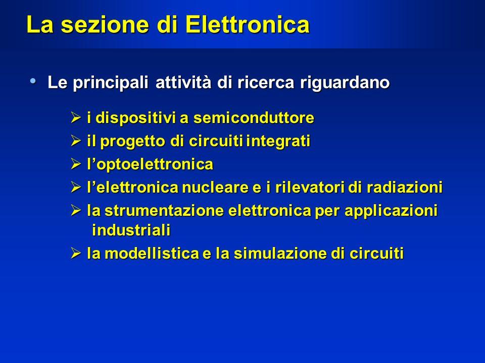 La sezione di Elettronica Le principali attività di ricerca riguardano Le principali attività di ricerca riguardano i dispositivi a semiconduttore i d
