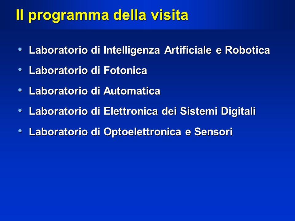 Il programma della visita Laboratorio di Intelligenza Artificiale e Robotica Laboratorio di Intelligenza Artificiale e Robotica Laboratorio di Fotonic