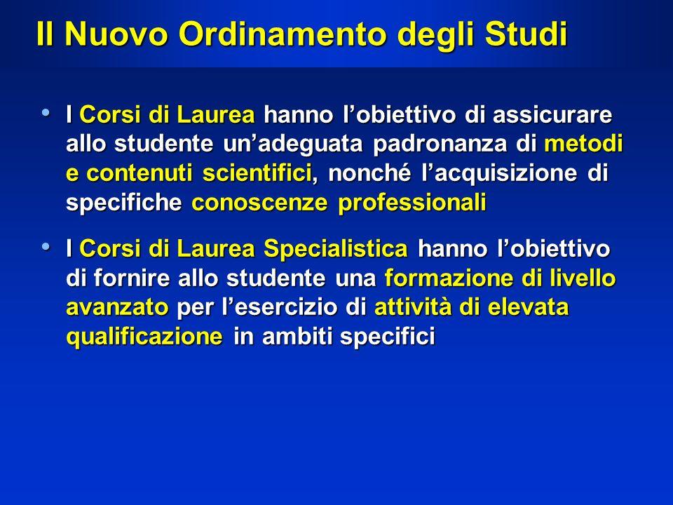 Il Nuovo Ordinamento degli Studi I Corsi di Laurea hanno lobiettivo di assicurare allo studente unadeguata padronanza di metodi e contenuti scientific