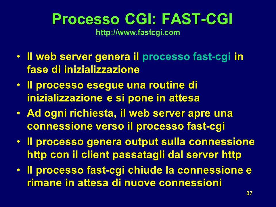 37 Processo CGI: FAST-CGI Processo CGI: FAST-CGI http://www.fastcgi.com Il web server genera il processo fast-cgi in fase di inizializzazione Il processo esegue una routine di inizializzazione e si pone in attesa Ad ogni richiesta, il web server apre una connessione verso il processo fast-cgi Il processo genera output sulla connessione http con il client passatagli dal server http Il processo fast-cgi chiude la connessione e rimane in attesa di nuove connessioni