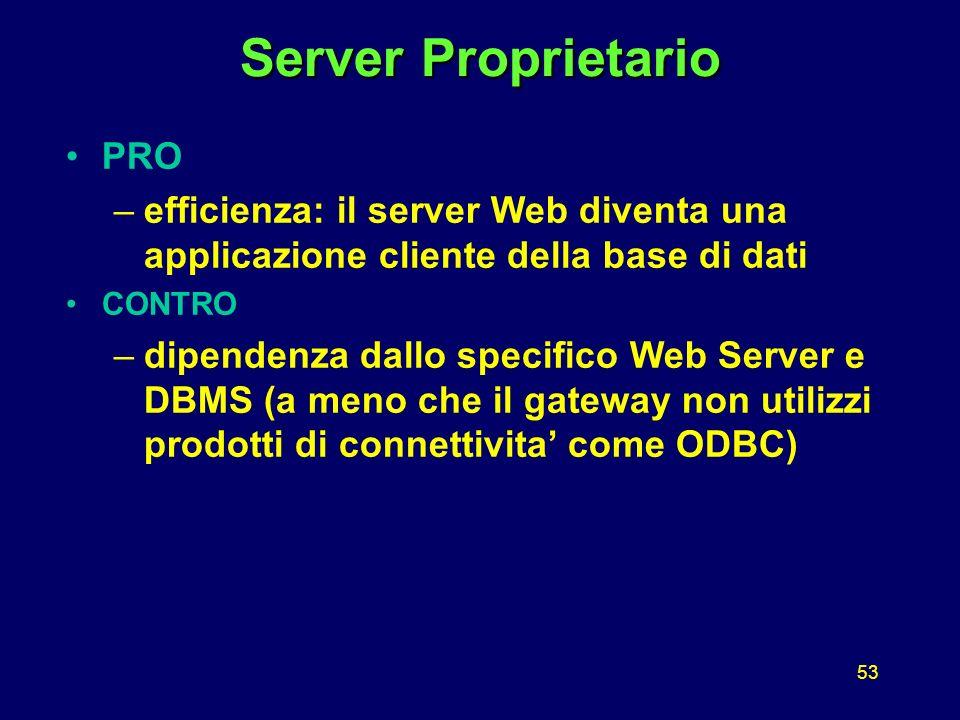 53 Server Proprietario PRO –efficienza: il server Web diventa una applicazione cliente della base di dati CONTRO –dipendenza dallo specifico Web Server e DBMS (a meno che il gateway non utilizzi prodotti di connettivita come ODBC)