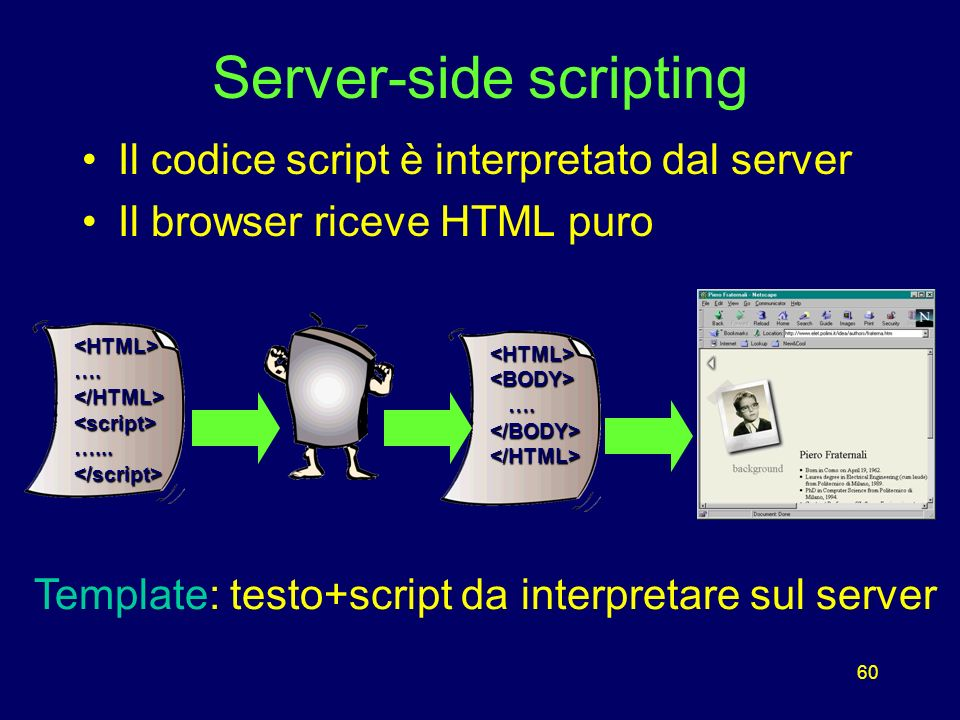 60 Server-side scripting Il codice script è interpretato dal server Il browser riceve HTML puro <HTML><BODY> ….
