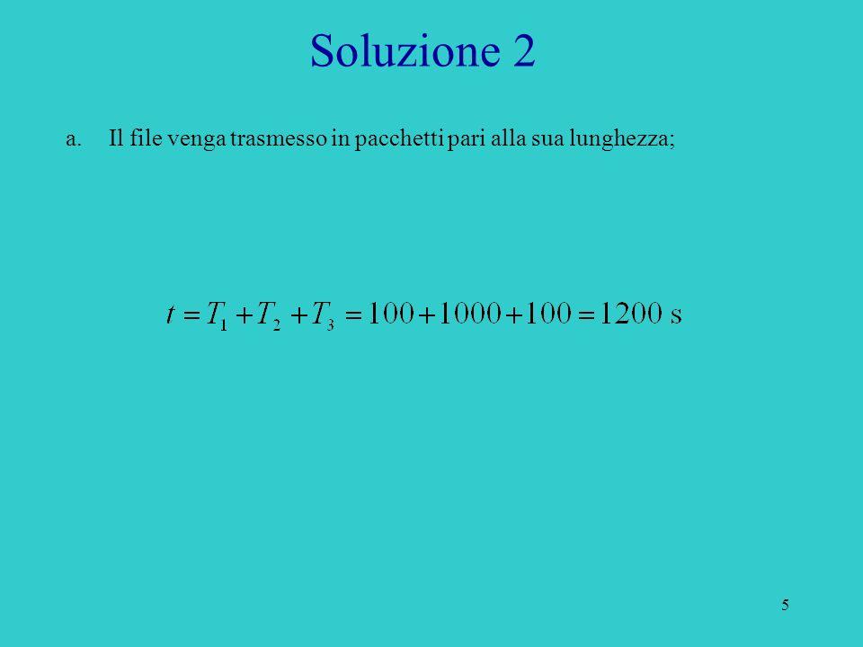 5 Soluzione 2 a.Il file venga trasmesso in pacchetti pari alla sua lunghezza;