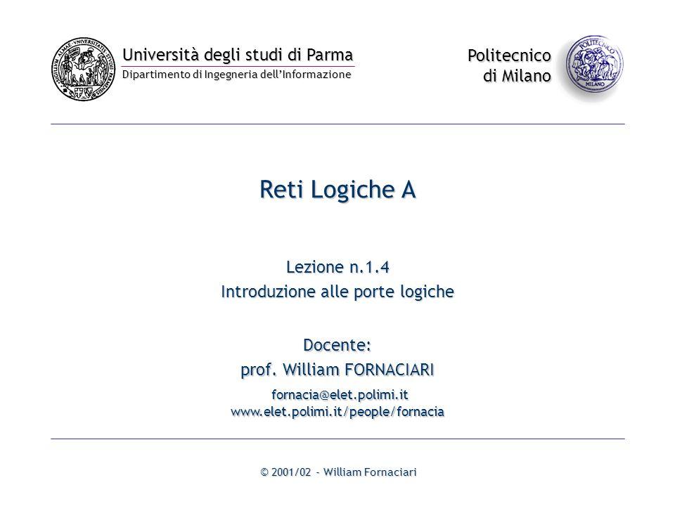 Università degli studi di Parma Dipartimento di Ingegneria dellInformazione Politecnico di Milano © 2001/02 - William Fornaciari Docente: prof.