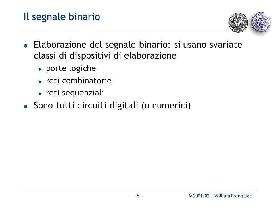 © 2001/02 - William Fornaciari- 5 - Il segnale binario Elaborazione del segnale binario: si usano svariate classi di dispositivi di elaborazione porte logiche reti combinatorie reti sequenziali Sono tutti circuiti digitali (o numerici)