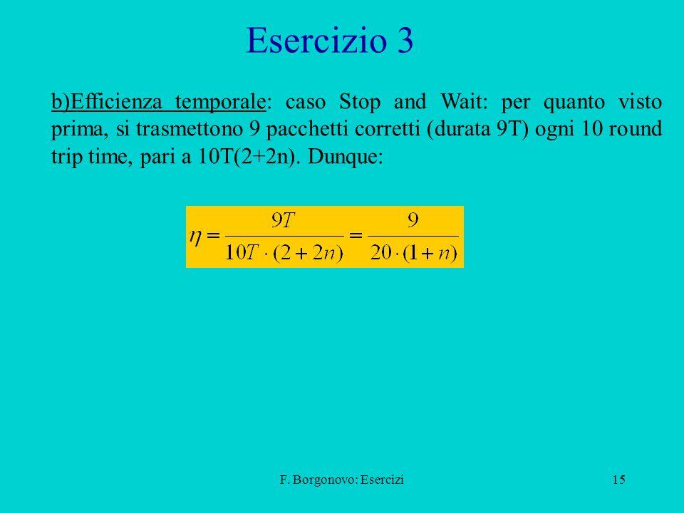 F. Borgonovo: Esercizi15 Esercizio 3 b)Efficienza temporale: caso Stop and Wait: per quanto visto prima, si trasmettono 9 pacchetti corretti (durata 9