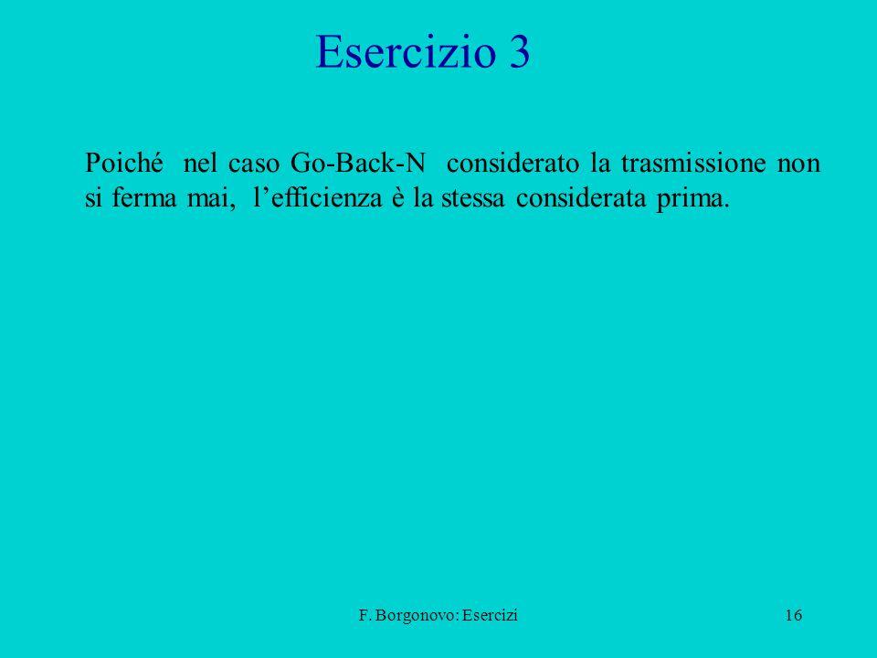 F. Borgonovo: Esercizi16 Esercizio 3 Poiché nel caso Go-Back-N considerato la trasmissione non si ferma mai, lefficienza è la stessa considerata prima