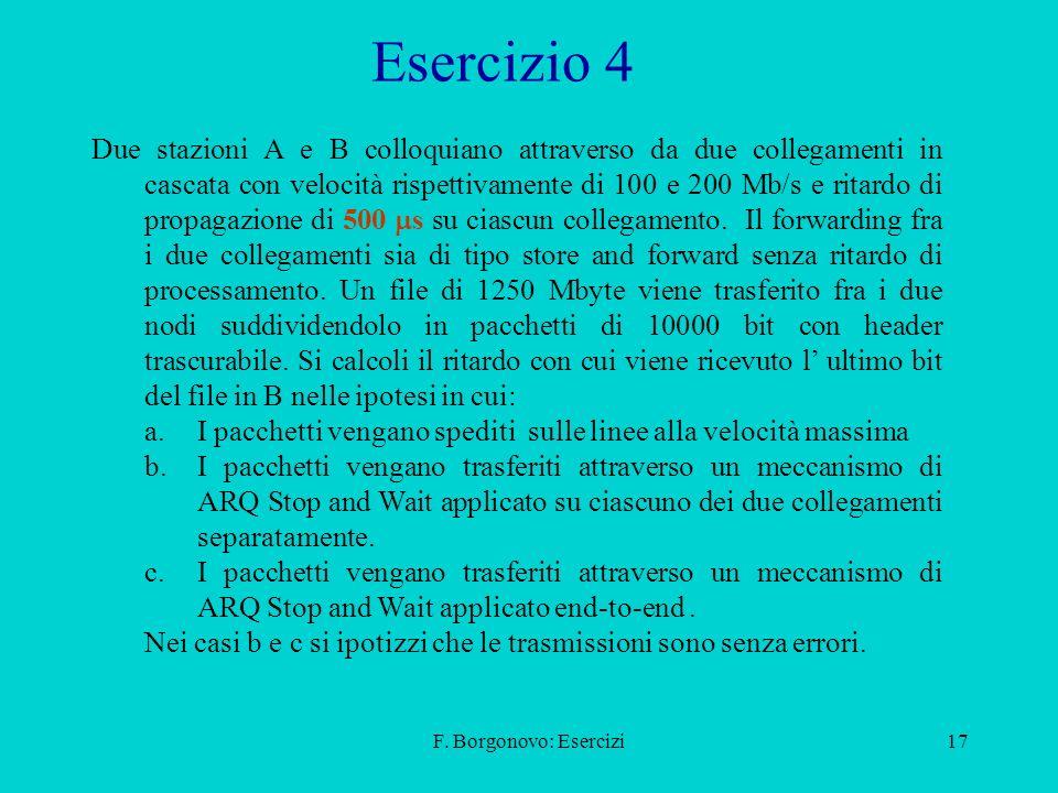 F. Borgonovo: Esercizi17 Esercizio 4 Due stazioni A e B colloquiano attraverso da due collegamenti in cascata con velocità rispettivamente di 100 e 20