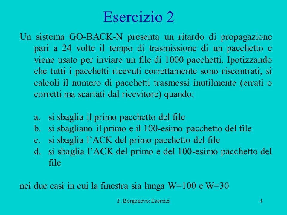 F. Borgonovo: Esercizi4 Esercizio 2 Un sistema GO-BACK-N presenta un ritardo di propagazione pari a 24 volte il tempo di trasmissione di un pacchetto