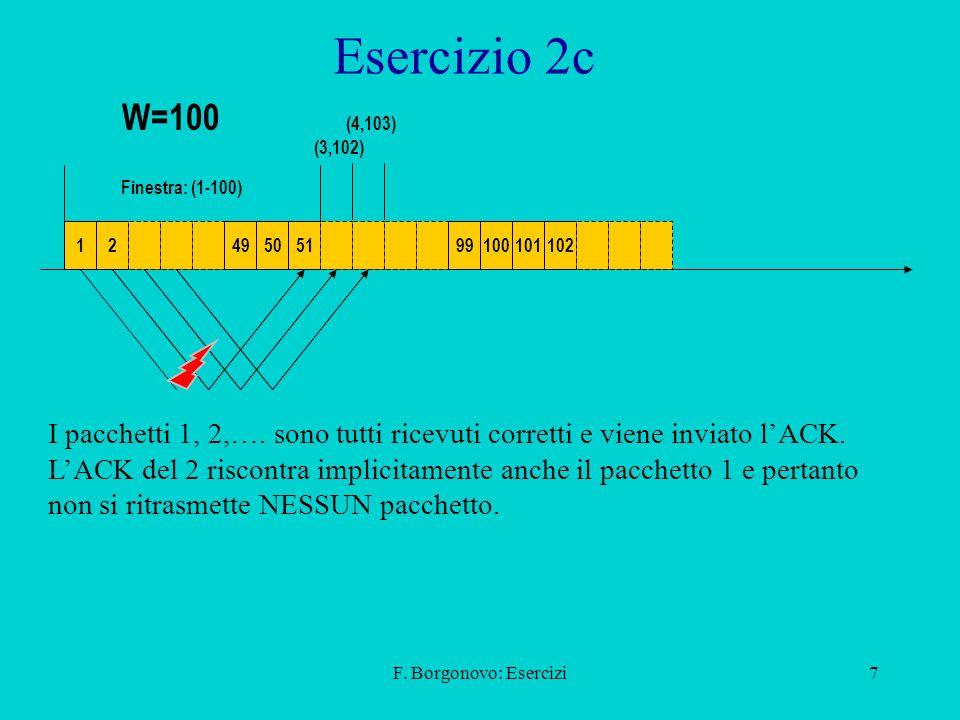 F. Borgonovo: Esercizi7 Esercizio 2c 1249505199100101102 Finestra: (1-100) (3,102) I pacchetti 1, 2,…. sono tutti ricevuti corretti e viene inviato lA