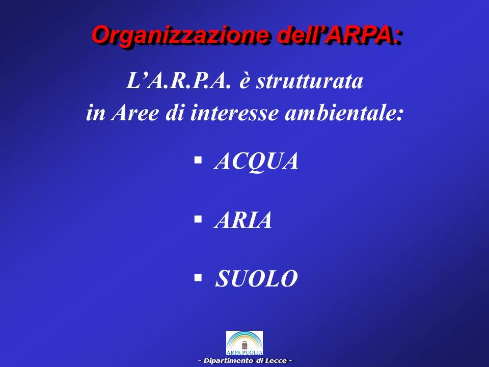 - Dipartimento di Lecce - Dotazione Organica e Strumentale Sono stati trasferiti allARPA le funzioni, il personale, i beni, dei P.M.P.