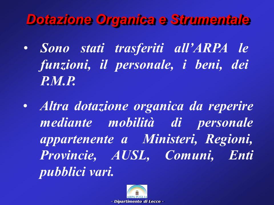 - Dipartimento di Lecce - Dotazione Organica e Strumentale A.R.P.A.