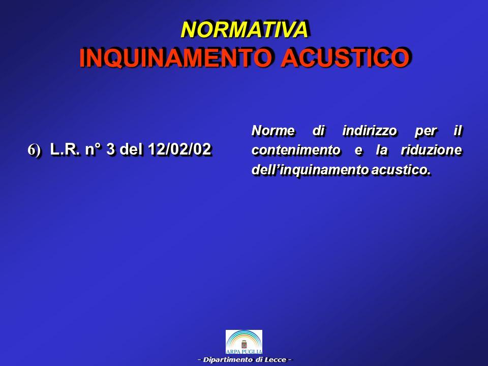 - Dipartimento di Lecce - COMMENTO NORMATIVA INQUINAMENTO ACUSTICO Legge Quadro 26/10/95 n° 447 Presentazione, a cura del possessore delle sorgenti specifiche, della previsione di impatto acustico per realizzazione, modifica o potenziamento di: Art.