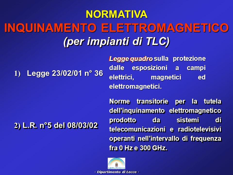 - Dipartimento di Lecce - NORMATIVA INQUINAMENTO ELETTROMAGNETICO (per impianti di TLC) 4) Decr.