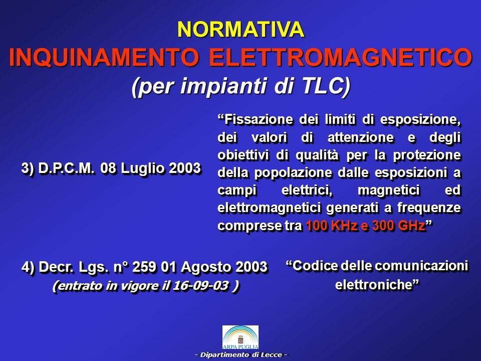 - Dipartimento di Lecce - NORMATIVA INQUINAMENTO ELETTROMAGNETICO (per impianti a bassa frequenza 50 Hz) 1) D.P.C.M.