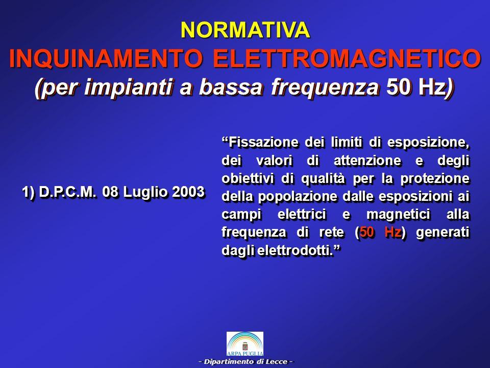 - Dipartimento di Lecce - COMMENTO NORMATIVA INQUINAMENTO ELETTROMAGNETICO (per impianti di TLC) D.P.C.M.