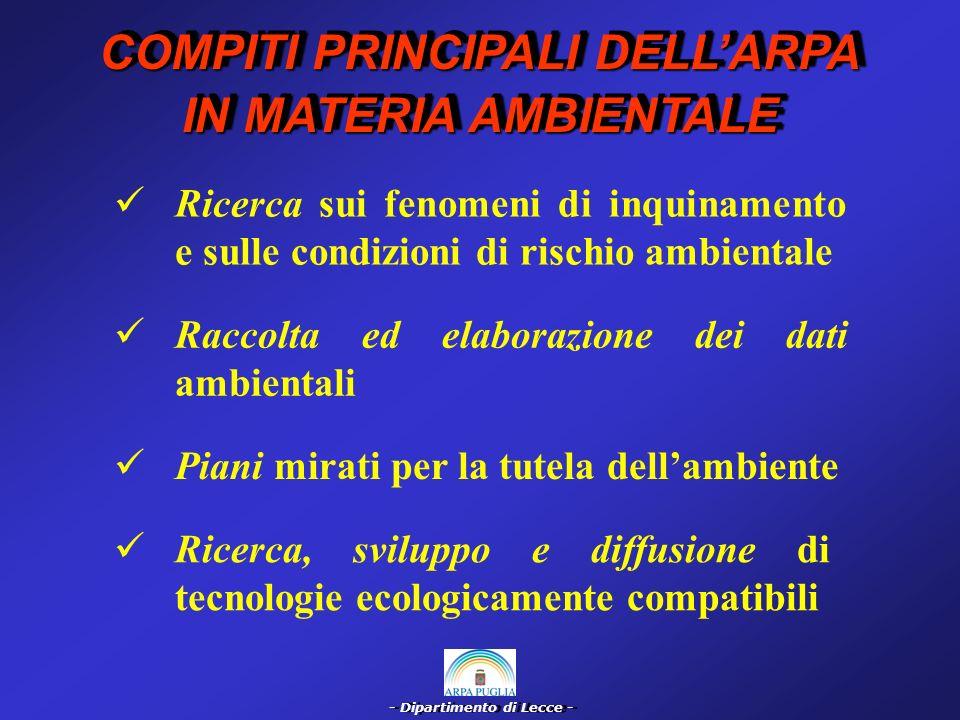 - Dipartimento di Lecce - Informazione sulla prevenzione dei rischi ambientali, con la relazione annuale sullo stato dellambiente della Regione Puglia Studi di valutazione di impatto ambientale Vigilanza e controllo dei fattori fisici, chimici e biologici di inquinamento ambientale COMPITI PRINCIPALI DELLARPA IN MATERIA AMBIENTALE COMPITI PRINCIPALI DELLARPA IN MATERIA AMBIENTALE Valutazione e prevenzione dei rischi di incidenti rilevanti connessi alle attività produttive