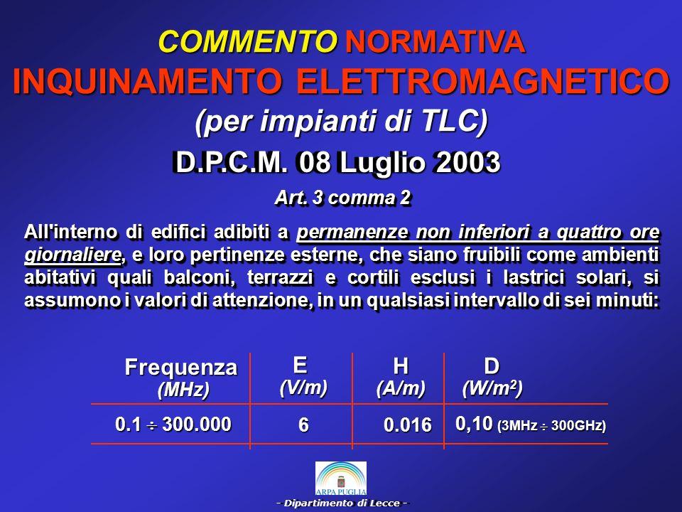 - Dipartimento di Lecce - COMMENTO NORMATIVA INQUINAMENTO ELETTROMAGNETICO (per impianti di TLC) 0.1 300.000 60.016 0,10 (3MHz 300GHz) E (V/m) (V/m)H(A/m) Frequenza (MHz) (MHz) D (W/m 2 ) D.P.C.M.