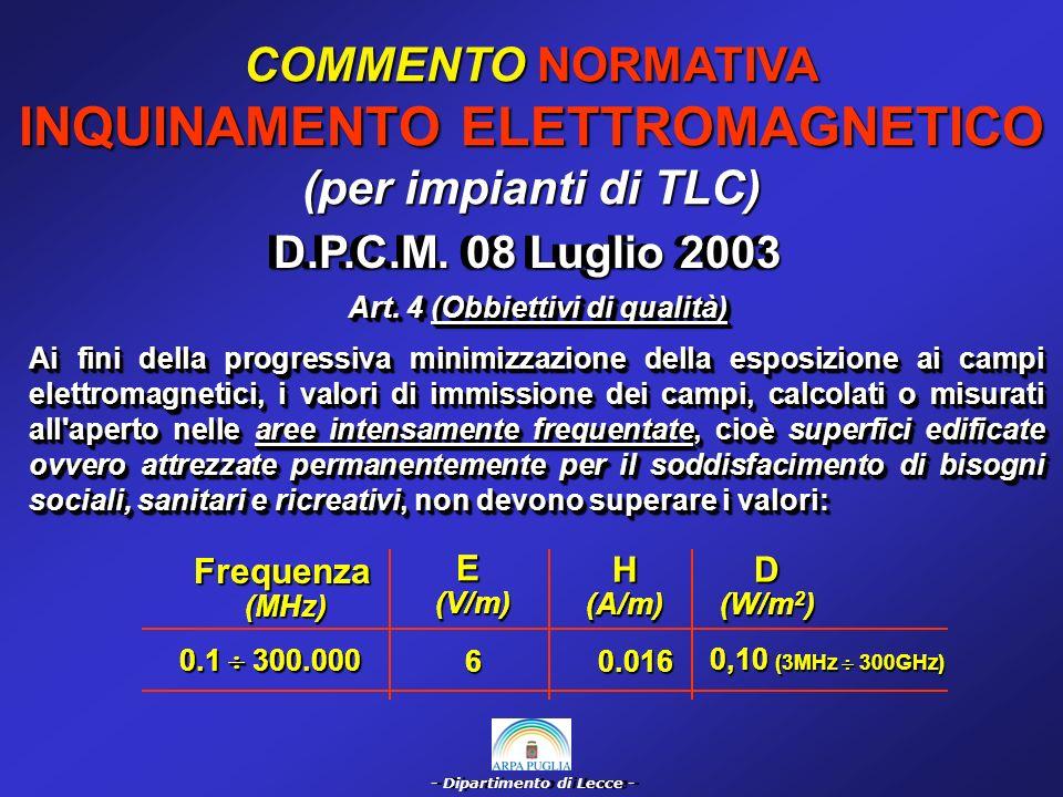 - Dipartimento di Lecce - COMMENTO NORMATIVA INQUINAMENTO ELETTROMAGNETICO (per impianti di TLC) Legge 22/02/01 n°36 Controlli ambientali a favore dellA.R.P.A.