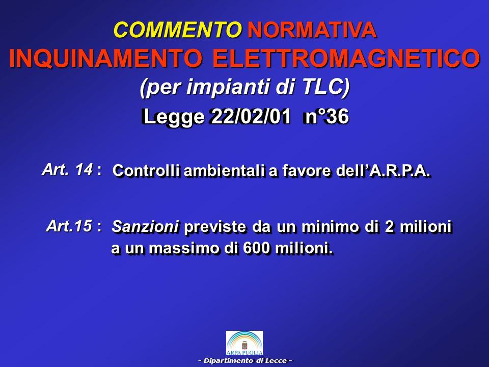- Dipartimento di Lecce - COMMENTO NORMATIVA INQUINAMENTO ELETTROMAGNETICO (Elettrodotti a 50 Hz) Art.