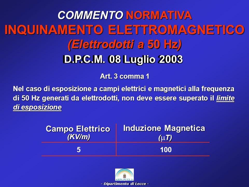 - Dipartimento di Lecce - COMMENTO NORMATIVA INQUINAMENTO ELETTROMAGNETICO (Elettrodotti a 50 Hz) D.P.C.M.