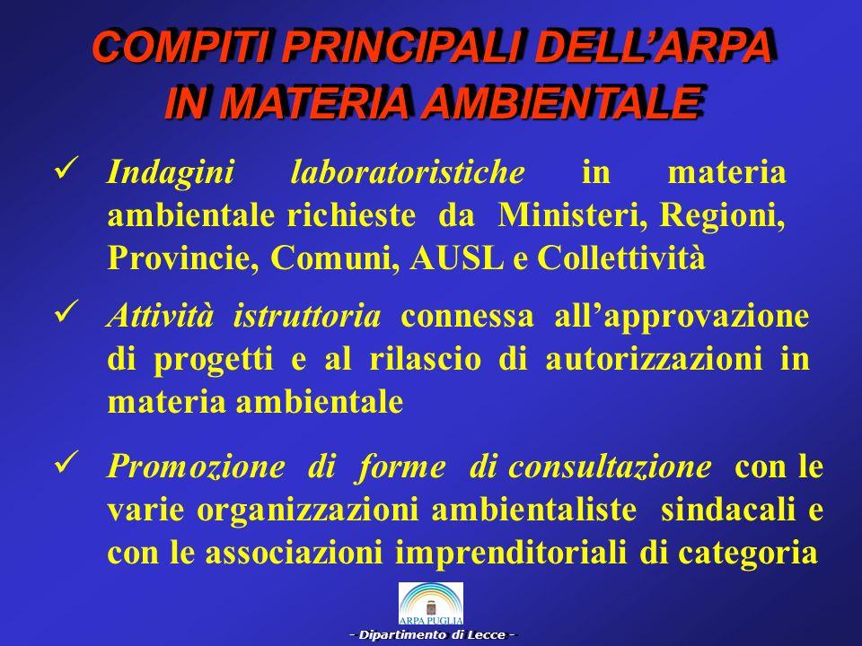 - Dipartimento di Lecce - ASPETTI ORGANIZZATIVI DELLARPA DELLARPA LA.R.P.A.