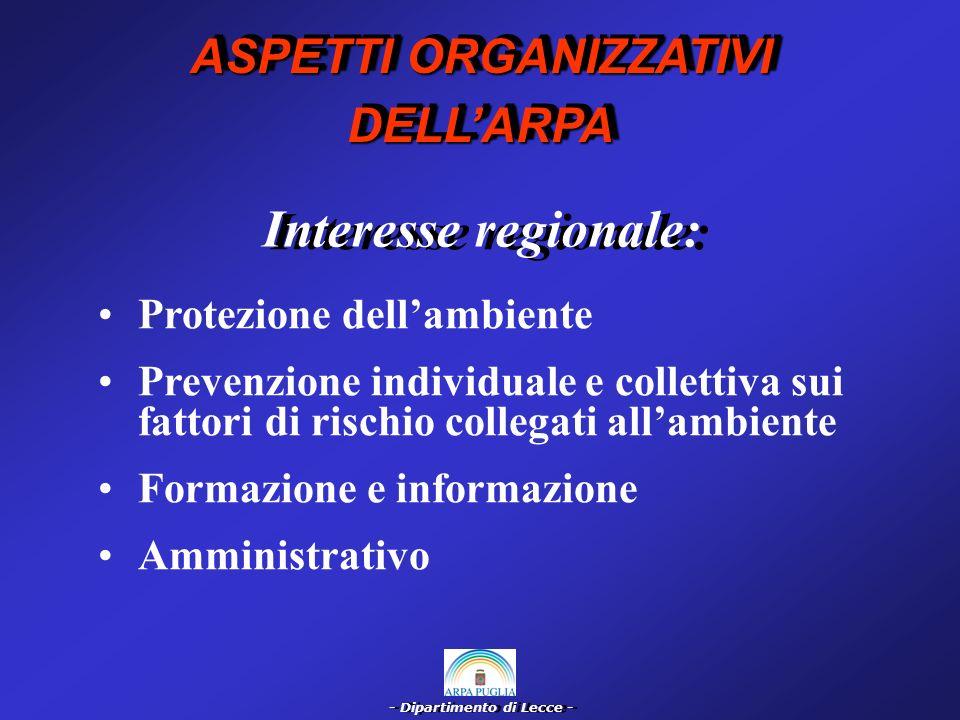 - Dipartimento di Lecce - Interesse provinciale: Prevenzione ambientale Prevenzione individuale e collettiva sui fattori di rischio collegati allambiente di vita ASPETTI ORGANIZZATIVI DELLARPA DELLARPA