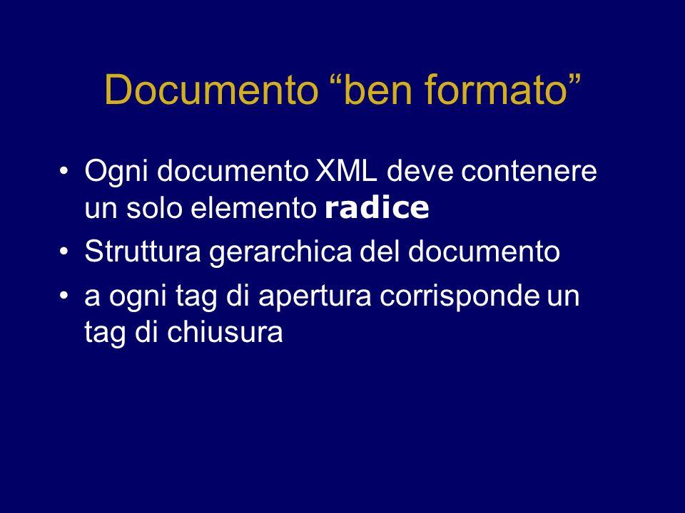 Documento ben formato Ogni documento XML deve contenere un solo elemento radice Struttura gerarchica del documento a ogni tag di apertura corrisponde un tag di chiusura