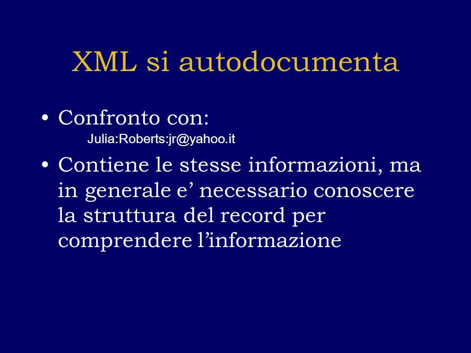 XML si autodocumenta Confronto con: Julia:Roberts:jr@yahoo.it Contiene le stesse informazioni, ma in generale e necessario conoscere la struttura del record per comprendere linformazione
