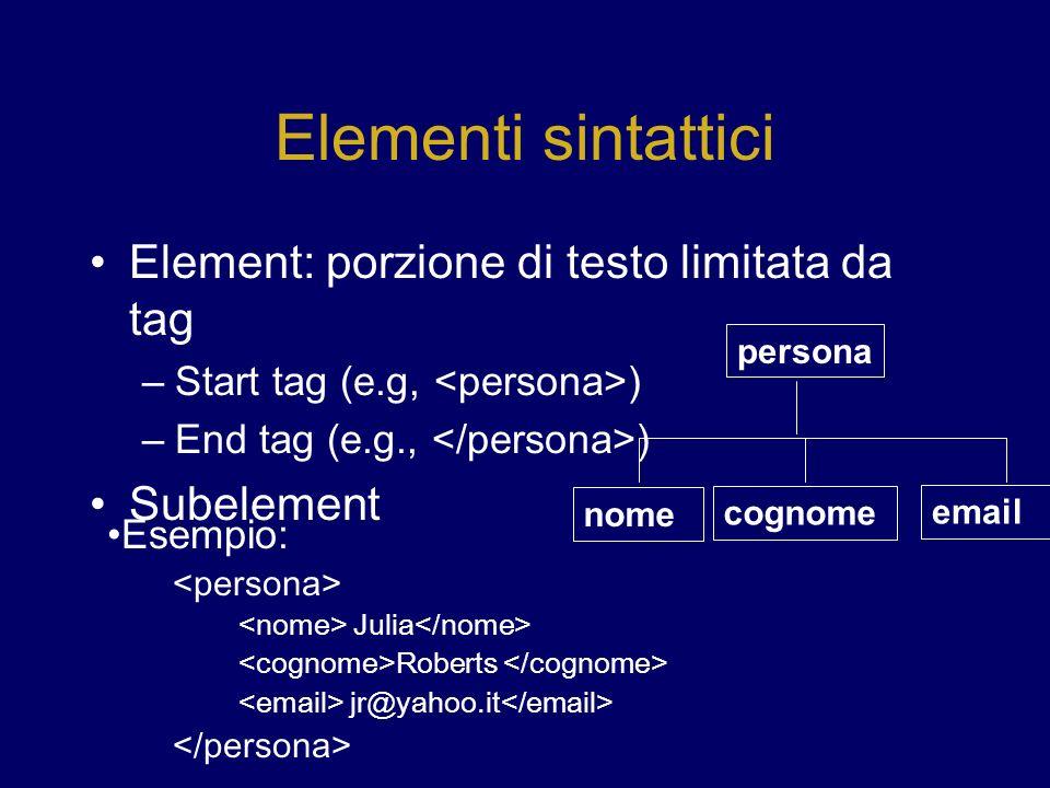 Elementi sintattici Element: porzione di testo limitata da tag –Start tag (e.g, ) –End tag (e.g., ) Subelement persona nome cognome email Esempio: Julia Roberts jr@yahoo.it