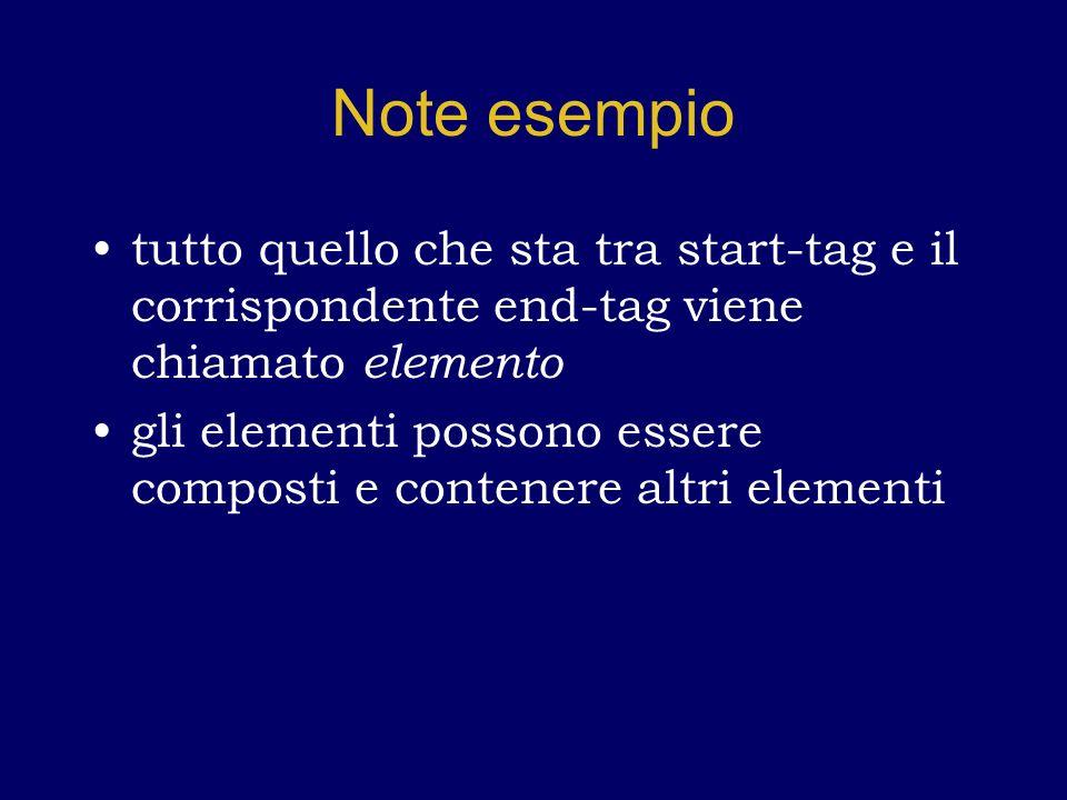 Note esempio tutto quello che sta tra start-tag e il corrispondente end-tag viene chiamato elemento gli elementi possono essere composti e contenere altri elementi