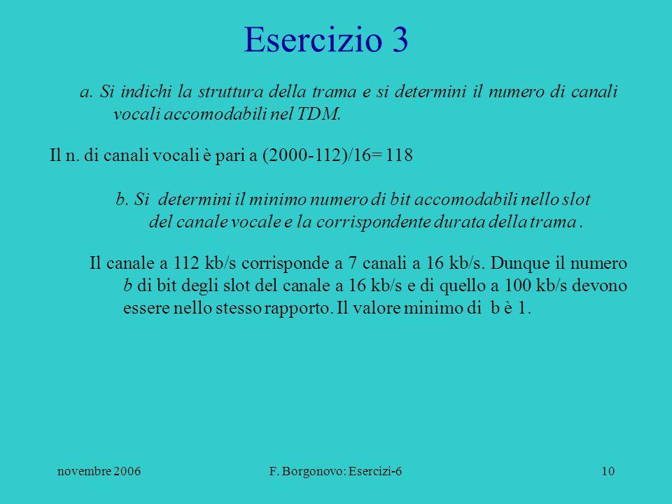 novembre 2006F. Borgonovo: Esercizi-610 Esercizio 3 a.