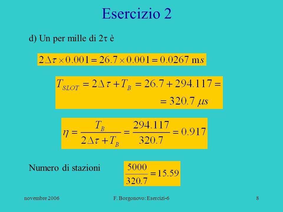 novembre 2006F. Borgonovo: Esercizi-68 d) Un per mille di 2 è Esercizio 2 Numero di stazioni