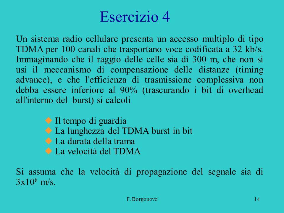 F. Borgonovo14 Esercizio 4 Un sistema radio cellulare presenta un accesso multiplo di tipo TDMA per 100 canali che trasportano voce codificata a 32 kb