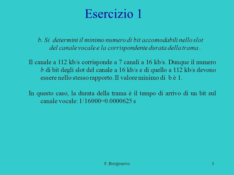 F. Borgonovo3 Esercizio 1 Il canale a 112 kb/s corrisponde a 7 canali a 16 kb/s. Dunque il numero b di bit degli slot del canale a 16 kb/s e di quello