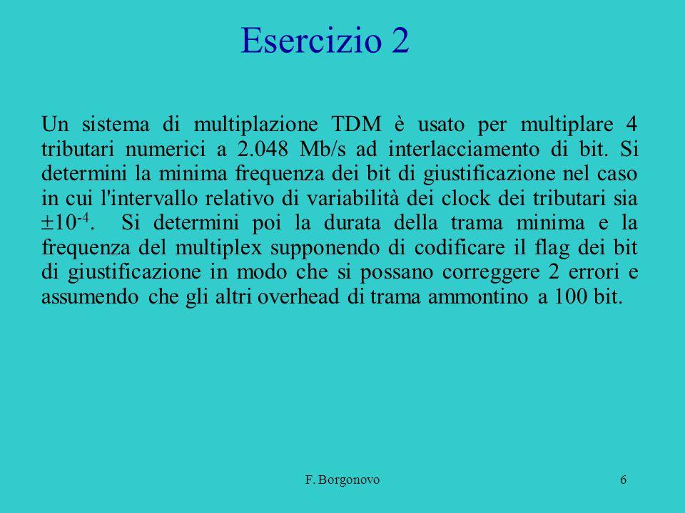 F. Borgonovo6 Esercizio 2 Un sistema di multiplazione TDM è usato per multiplare 4 tributari numerici a 2.048 Mb/s ad interlacciamento di bit. Si dete