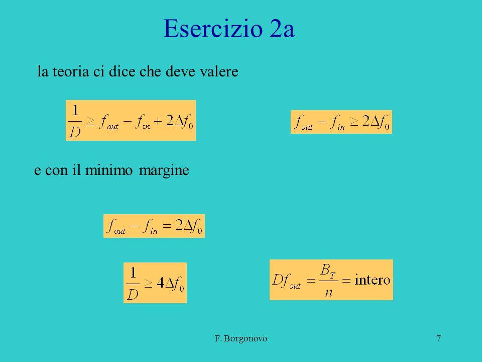 F. Borgonovo7 Esercizio 2a la teoria ci dice che deve valere e con il minimo margine